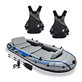 Monarch Specialties Intex Excursion 5 Person Inflatable Rafting and Fishing Boat Set with 2 OarsNRS Vapor Adult Small Medium PFD Type III Boating Kayak Life Jacket Vest, Black (2 Pack)