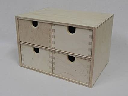 Caja de madera de abedul de almacén con cajones{4} 29 x 20 cm Box: Amazon.es: Hogar