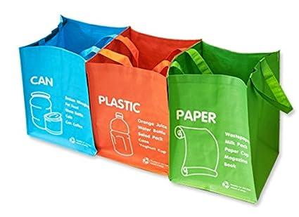 Papelera de reciclaje, juego de bolsas de reciclaje separadas, impermeables, de 3 colores