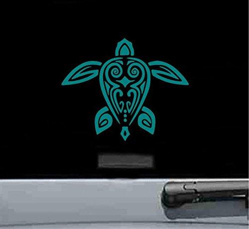 Hawaiian Turtle Decals - Hawaiian Tribal Turtle Vinyl Decal Sticker (TEAL)