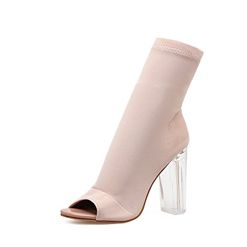 Fischmaul Aprikose kalten Das und mit mit Stiefeln transparent weiblichen hohem elastische Sandalen Frühlings Stretch mit neue ZHZNVX Material PwdAOxZTPq