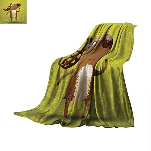 (Fleece Blanket Throw Funny Deer Standing on hind Legs Throw Blanket 50