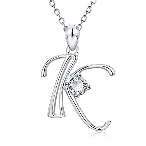 YFN Initial K Necklace Sterling Silver Letter Alphabet Pendant Necklace Jewelry for Women Teen Girls