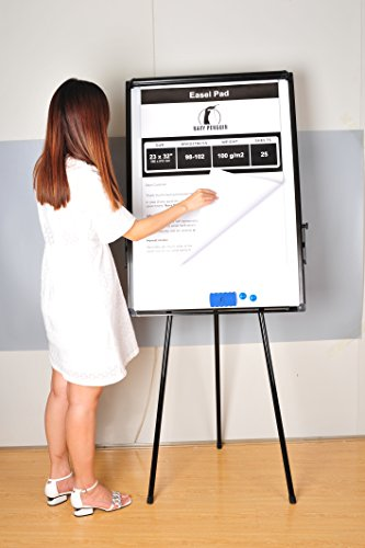 Whiteboard Easel / Flipchart Set - Tripod White Dry Erase Board 40 x 28'' + 1 Magnetic Dry Eraser, 4 Dry-erase Colorful Marker Pens, 2 Magnets and 23 x 32'' Flip Chart Paper Pad Pack 25 pcs by Navy Penguin (Image #4)