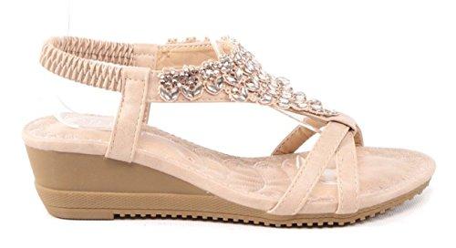SHU CRAZY Womens Ladies Diamante Open Toe Summer Fashion Gladiator Holiday Beach Sandals Shoes - M76 Beige u7UGZZLSP