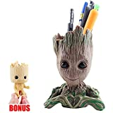 Groot Flower Pot Containers Guardians of The Galaxy Succulent Pen Pot Desk Organizer Creative Decoration Gifts with 1 Cute Groot Keychain