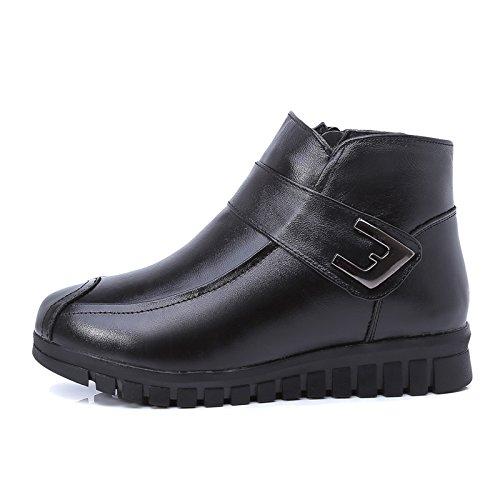 KHSKX-Bei Älteren Menschen Mit Warmen Baumwolle Samt Schuhe Schlüpfen Unten Stiefel Schuhe Weichen Leder Flache Stiefel 36 black