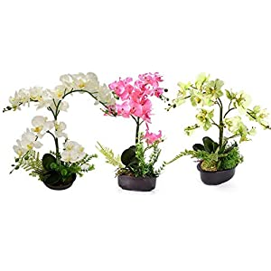 Silk Flowers with Pot, Artificial Orchid Phalaenopsis Arrangement Flower Bonsai with Vase for Room Table Centerpieces, 16.5 Inches 99