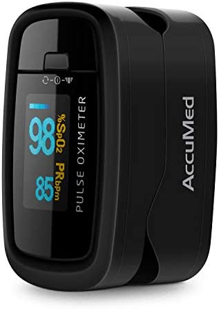AccuMed CMS-50D1 Fingertip Pulse Oximeter Blood Oxygen Sensor SpO2 for Sports and Aviation. Portable and Lightweight with LED Display, 2 AAA Batteries, Lanyard and Travel Case Black