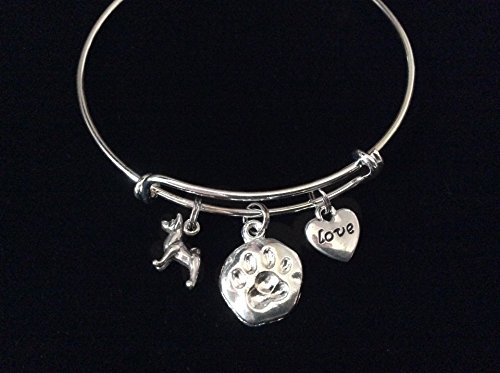 Charm Dog Akita - Akita Sterling Silver Charm on a Silver Plated Expandable Bracelet Dog Lover Gift