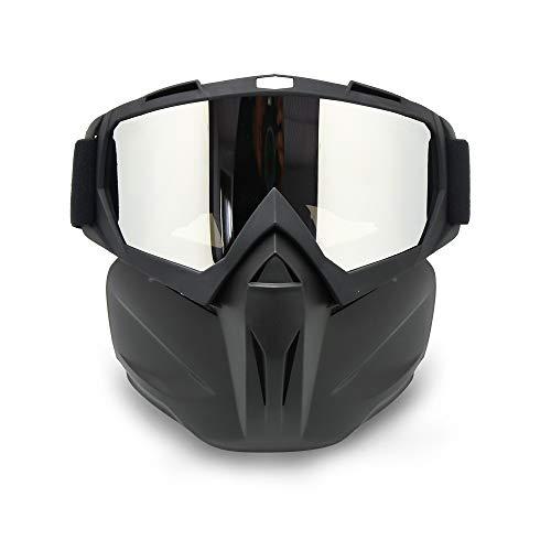 EnzoDate Motorcycle Dirt Bike ATV Goggles Mask Detachable Harley Style Helmet Sunglasses
