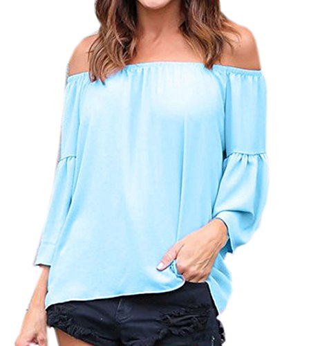 Shirts Bleu Epaule Sexy Chemisiers Flare Blouse Et Denudee Clair Chemisiers Sleeve Couleur Top Haut Unie Femme fw6InqSn0