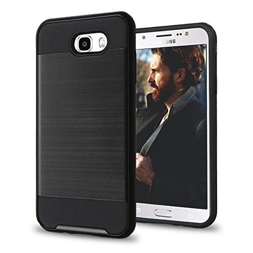 (Samsung Galaxy J7 Prime / J7 V / J7 Perx / J7 Sky Pro / J7 2017 Case, Brushed Design Hybrid, Slim Fit Polycarbonate and Silicone TPU Hard Cover with)
