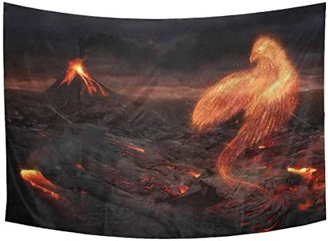 INTERESTPRINT Cool Burning Bird Phoenix in Volcanic Landscape Tapestry Wall Hanging Tapestries Art for Bedroom Living Room Dorm, 90 W X 60 L Inches