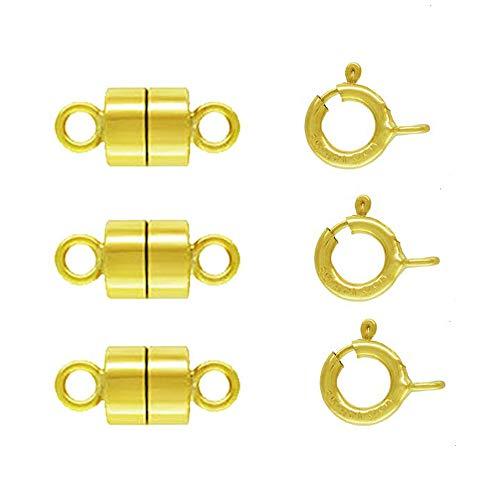 3 Pack 14k Gold-Filled 4.4 mm Magnetic Clasp Converter for Light Necklaces/Bracelets 5.5 mm Spring Ring