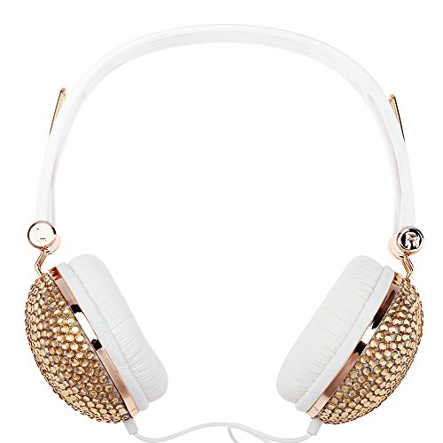 Smartlife Artificial Crystal Rhinestone Bling Over Ear Headphones Hi- Fi Stereo Low Bass with Anti-noise Music Function for Computer,DJ,Mobile phone,Portable Media Player,Sport (rose gold)