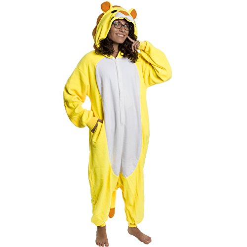 Silver Lilly Adult Pajamas - Plush One Piece Cosplay Lion Animal Costume (M) - Boxer 4 Piece Costume