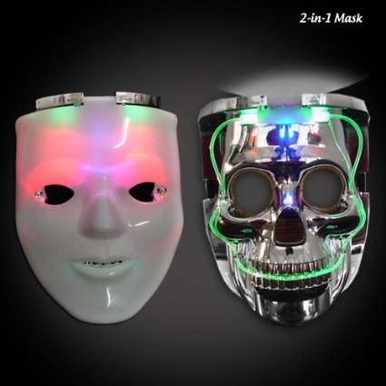 ASSIS LED Light-Up Change Face Mask Halloween Masquerade Holloween Party