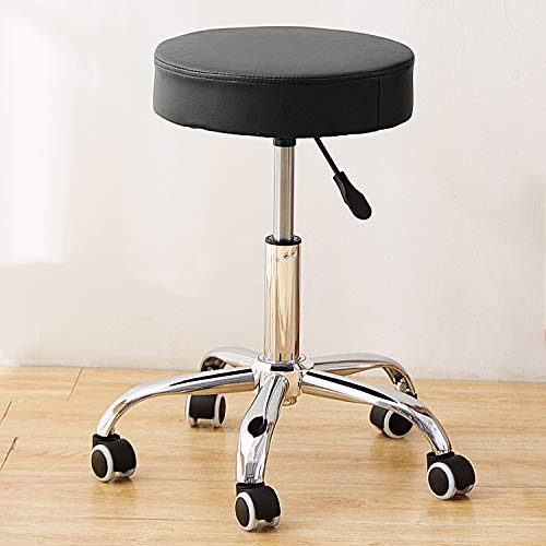 Rfiver Adjustable Salon Spa Stool Massage Chair Leather Drafting Stool with Wheels and Heavy Duty Metal Base, Rolling and Swivel in Black Color