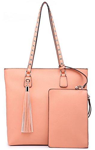 Celio Fedi Shoulder Purse,Hobo Bag Set Tote Handbag for Women Large Chic Classic Elegant Medium Size with Wallets Tassels (Medium, Pink) by Celio Fedi (Image #5)
