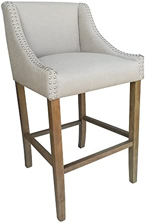 Set of 2 Parkland Contemporary Wood Linen Barstool - Beige Linen