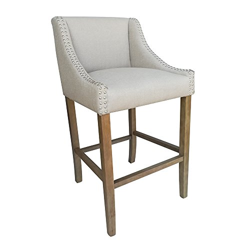 Set of 2 Parkland Contemporary Wood Linen Barstool – Beige Linen