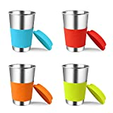 #8: Stainless Steel Cups With Silicone Lids & Sleeves, Kereda 4 Pack 16 oz. Drinking Tumblers Eco-Friendly BPA-Free for Adults, Kids and Toddlers