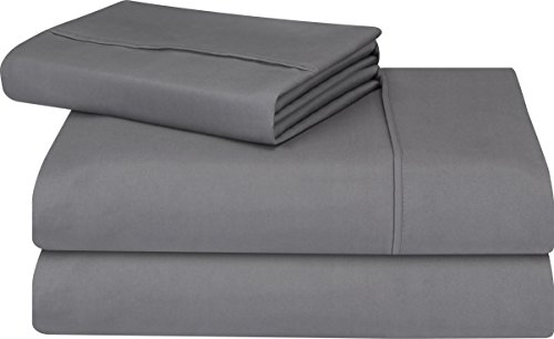 Premium 3 Piece Bed Sheet Set (Twin, Grey) 1 Flat Sheet 1 Fitted Sheet and 1 Pillow Case - Brushed Velvety Microfiber - Luxurious and Extremely Durable by Utopia Bedding by Utopia Bedding