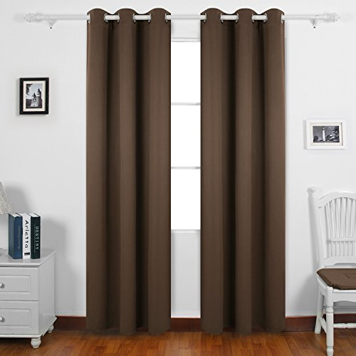 Brown Grommets (Deconovo Room Darkening Thermal Insulated Blackout Grommet Window Curtain for Bedroom, Brown,42x84-inch,1)