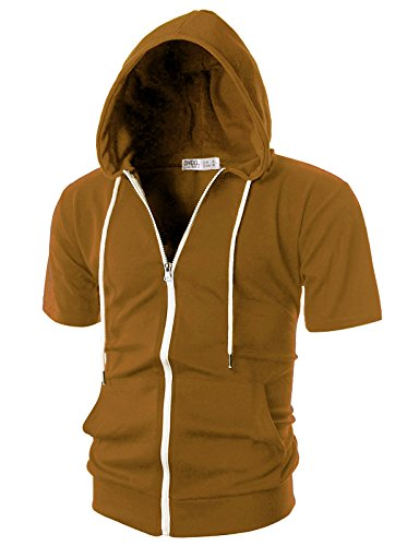 OHOO Mens Slim Fit Short Sleeve Lightweight Zip-up Hoodie with Kanga Pocket/DCF007-CAMEL-2XL
