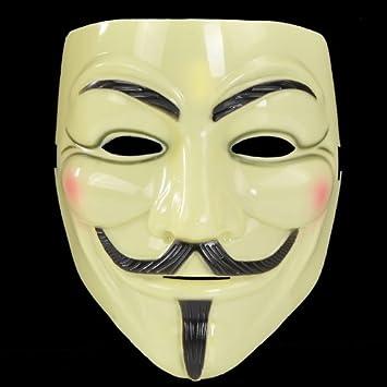 Housweety Máscara Amarilla V de vendetta ANONYMOUS HALLOWEEN COSPLAY
