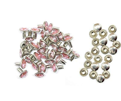 Synthetic Crystal Rivets Pink 3 Sizes