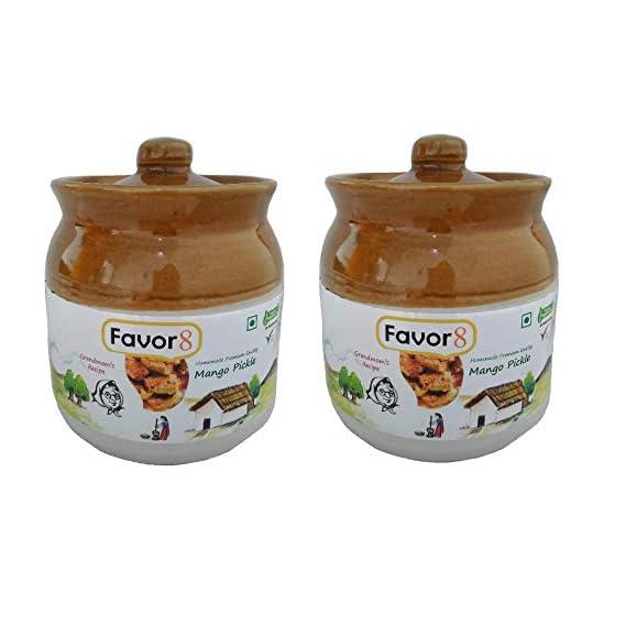 Favor8 Mango Pickle in Ceramic Jar 400ml - Pack of 2x350g