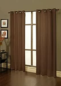 """Sherry Kline Faux Silk 84"""" Window Panel (Set of 2) with Grommets and Blackout Line (Brown)"""