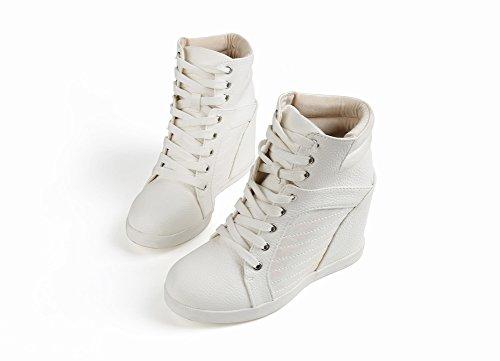 Los Zapatos de Mujer Blancos Casuales Encienden Alto Alto Cuello para Ayudar a Aumentar Los Zapatos de Las Mujeres , blanco , EUR37