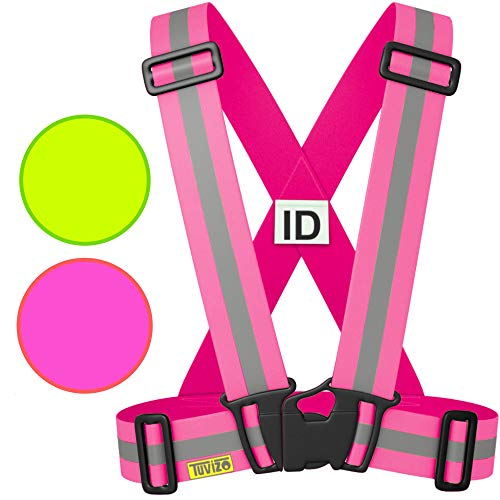 Reflective Vest High Visibility Day Night. Running Cycling Dog Walking Car Safety Motorcycle Riding. For Adult Men Women Children. Reflector Apparel Sport Gift for Runners Cyclists. Fuschia Pink S M L (Safety Lights Vests)