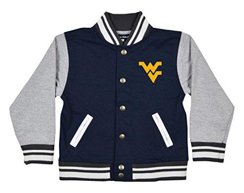 NCAA West Virginia Mountaineers Children Unisex Toddler Letterman Jacket, 3 Toddler, Navy/Oxford -