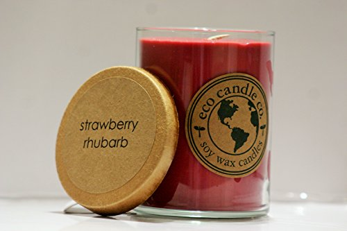 Eco Candle 100% USA Made Soy Scented Candle 16oz - Strawberry Rhubarb