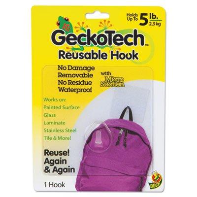 GeckoTech Reusable Hooks, Plastic, 5 lb Capacity, Clear, 1 Hook, Sold as 1 (Duck Premium Coat)