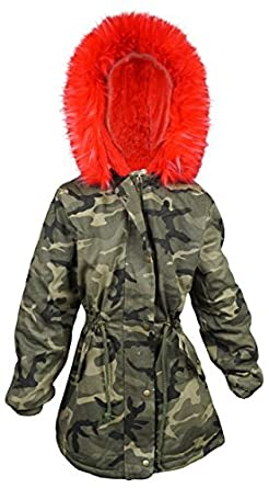 a657a4415d52 Kids Star Girls Faux Fur Lined Army Camo Combat Fishtail Parka Style ...