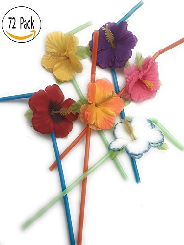 Hibiscus Flower Bendable Straws ( Pack of 72 ) - Luau Straws
