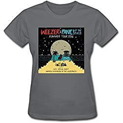 CAI Women's Weezer And Panic At The Disco Tour 2016 T-Shirt DeepHeather M