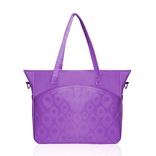 Bolso de la momia de la manera bolso de múltiples funciones de gran capacidad Bolso del mensajero madre paquete del bebé de la madre hacia fuera bolso de la madre ( Color : Pink ) Purple