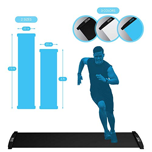 American Lifetime Slide Board - Workout Board for Fitness Training and Therapy with Shoe Booties and Carrying Bag Included - Black/White/Blue, 6/7.5 Feet from American Lifetime
