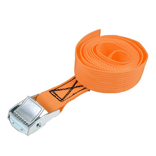 uxcell 荷物ストラップ ラチェット式 ベルト 荷物固定ロープ 荷物落下防止 カムバックル付き ロード250Kg 1.5Mx25mm オレンジ
