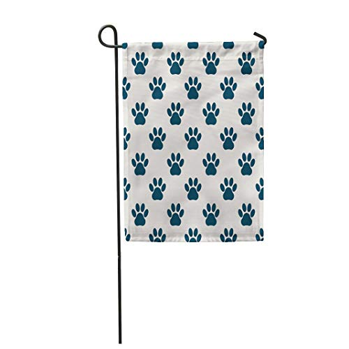 Semtomn Garden Flag 28x40 Inches Print On Two Side Polyester Blue Dog Light Gray Pattern from Paw Green Animals Bear Home Yard Farm Fade Resistant Outdoor House Decor -