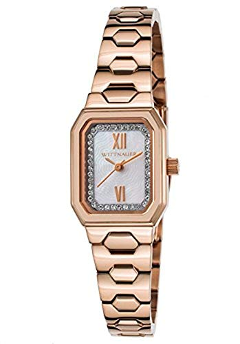 Baguette Crystal Dress Watch - Wittnauer Rose Gold Tone Baguette Case Watch WN4052
