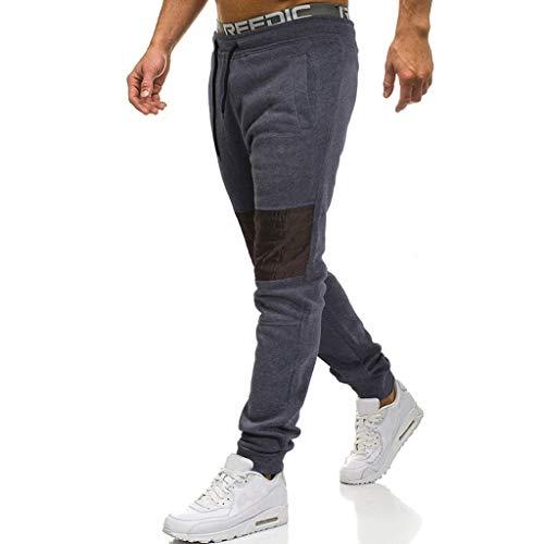 Atados Trousers De Panpany Joggers Pantalones Gris Pant Sport Oscuro Para Work Casual Largos Hombres Patchwork Pantalón q1O7PHt
