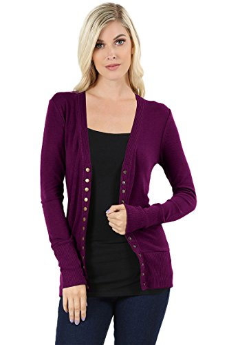 Cardigans for Women Long Sleeve Cardigan Knit Snap Button Sweater Regular & Plus - Plum (Size S)