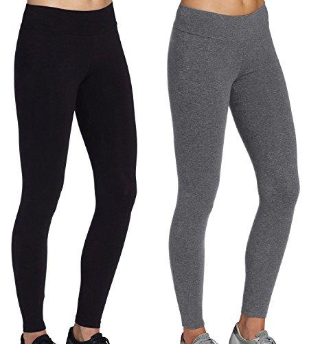 2pcs legging damen sport grau+Schwarz Sportswear Hosen Workout Leggings Freizeit,Größe S
